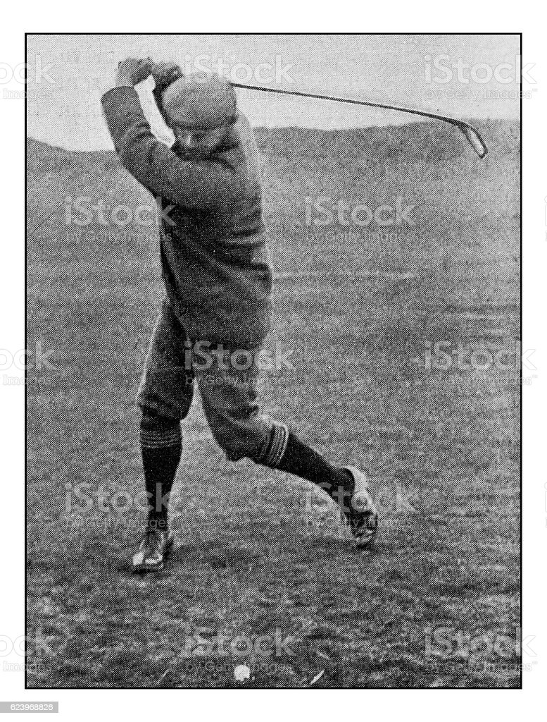 Antique dotprinted photograph of Hobbies and Sports: Golf stock photo