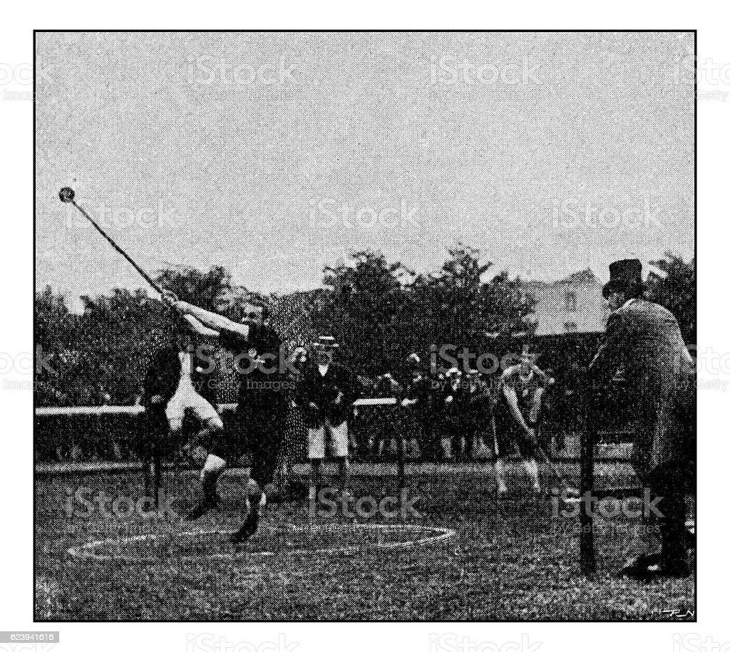 Antique dotprinted photograph of Hobbies and Sports: Hammer Throw stock photo