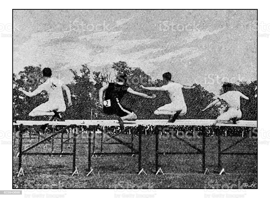 Antique dotprinted photograph of Hobbies and Sports: Hurdles stock photo