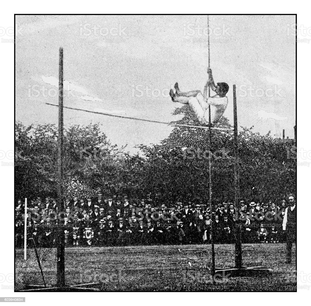 Antique dotprinted photograph of Hobbies and Sports: Pole Vault stock photo