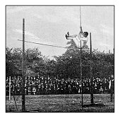 Antique dotprinted photograph of Hobbies and Sports: Pole Vault