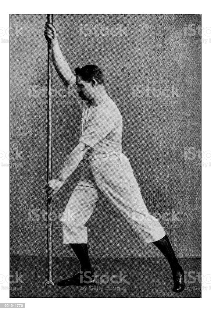 Antique dotprinted photograph of Hobbies and Sports: Punting stock photo