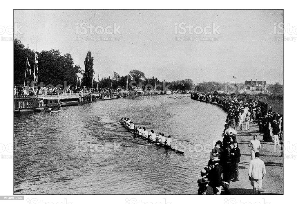 Antique dotprinted photograph of Hobbies and Sports: Rowing Race Oxford stock photo