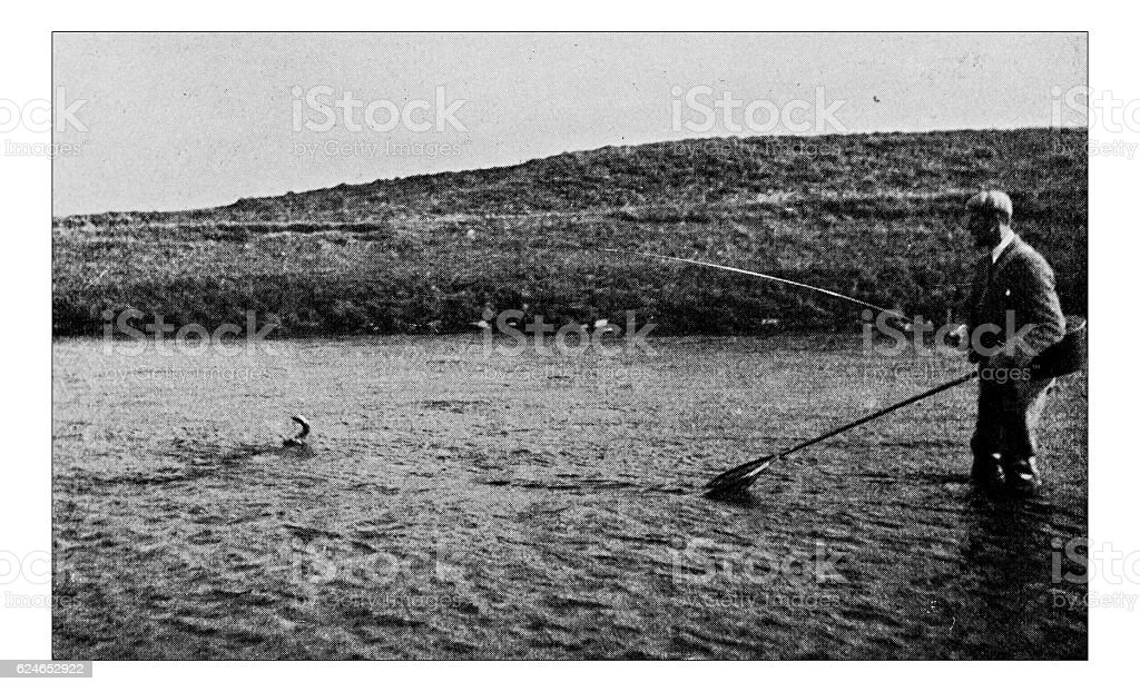 Antique dotprinted photograph of Hobbies and Sports: Salmon fishing