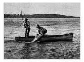 Antique dotprinted photograph of Hobbies and Sports: Tarpon fishing
