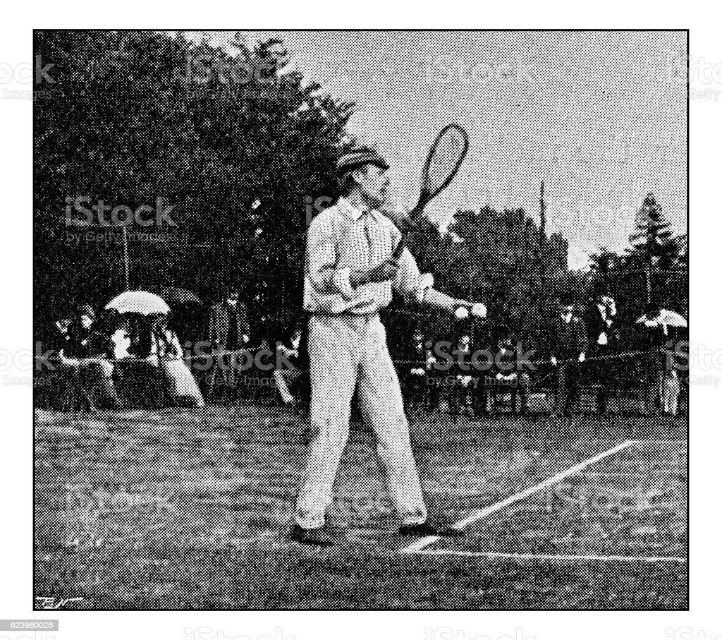 Antique dotprinted photograph of Hobbies and Sports: Tennis