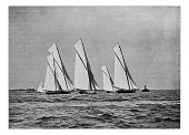 Antique dotprinted photograph of Hobbies and Sports: Yachting sailing boat