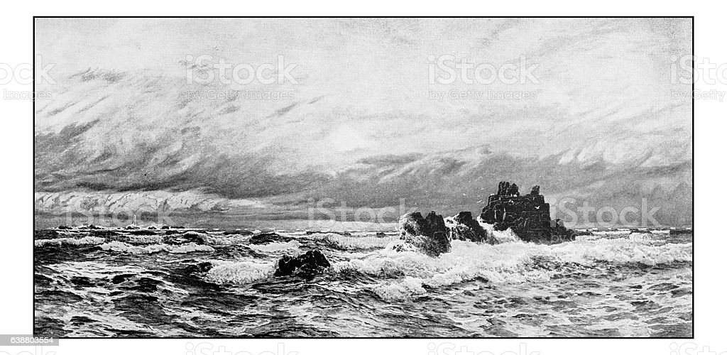 Antique dotprinted photograph of painting: Breakers among the reef stock photo