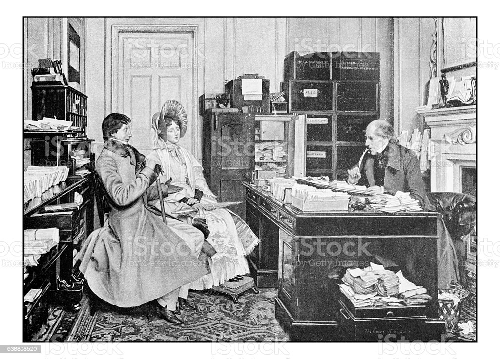 Antique dotprinted photograph of painting: Couple in notary office stock photo