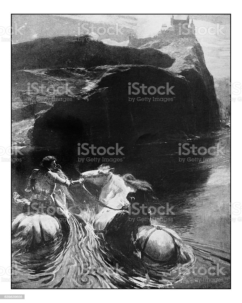 Antique dotprinted photograph of painting: Fable stock photo