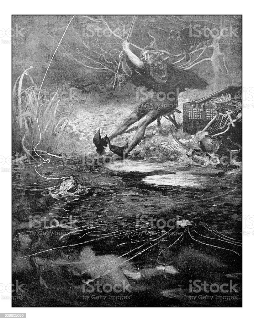 Antique dotprinted photograph of painting: Fisherman stock photo