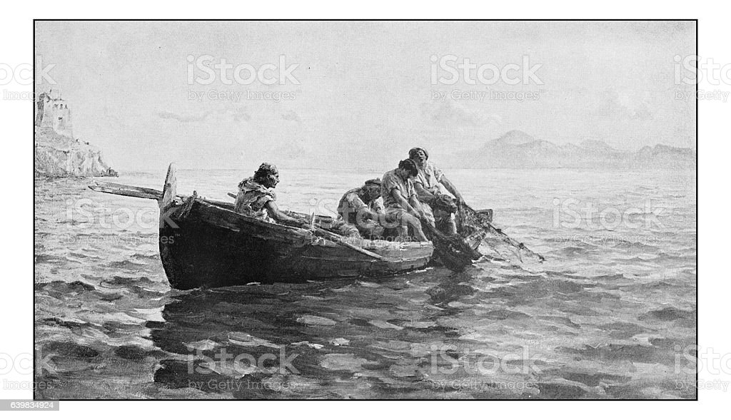 Antique dotprinted photograph of painting: Fishermen stock photo