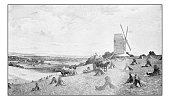 Antique dotprinted photograph of painting: Lancing Mill, Sussex