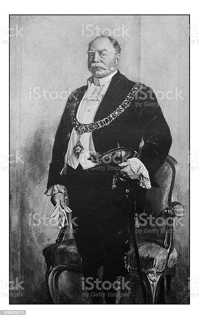 Antique dotprinted photograph of painting: Major of Leicester stock photo