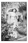 Antique dotprinted photograph of painting: Mary Magdalene
