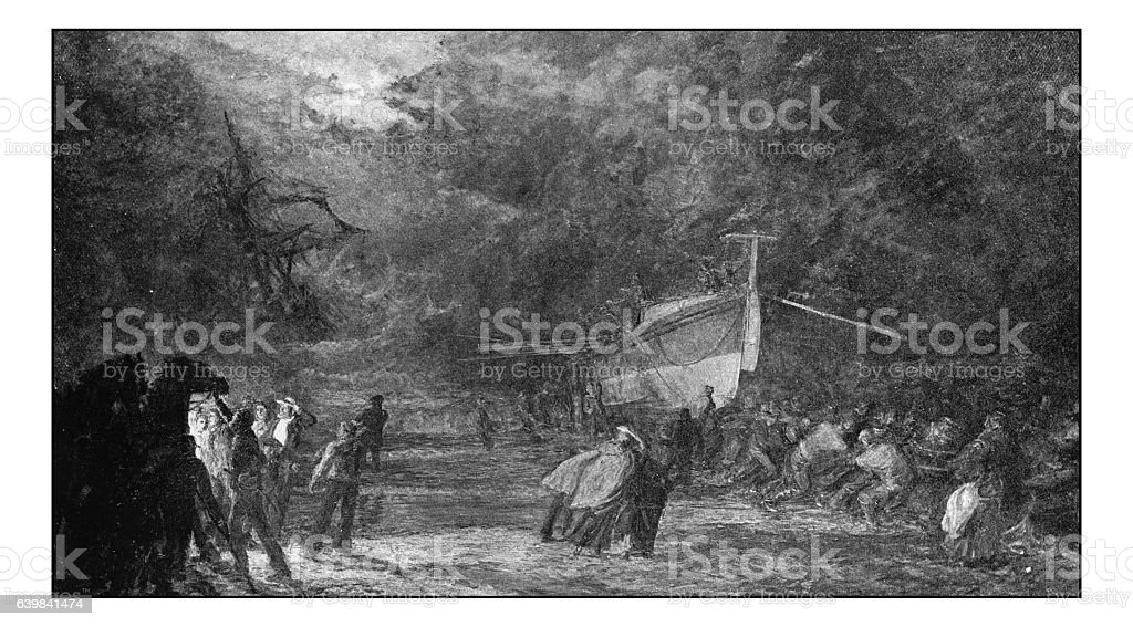 Antique dotprinted photograph of painting: Rescuing shipwreck stock photo
