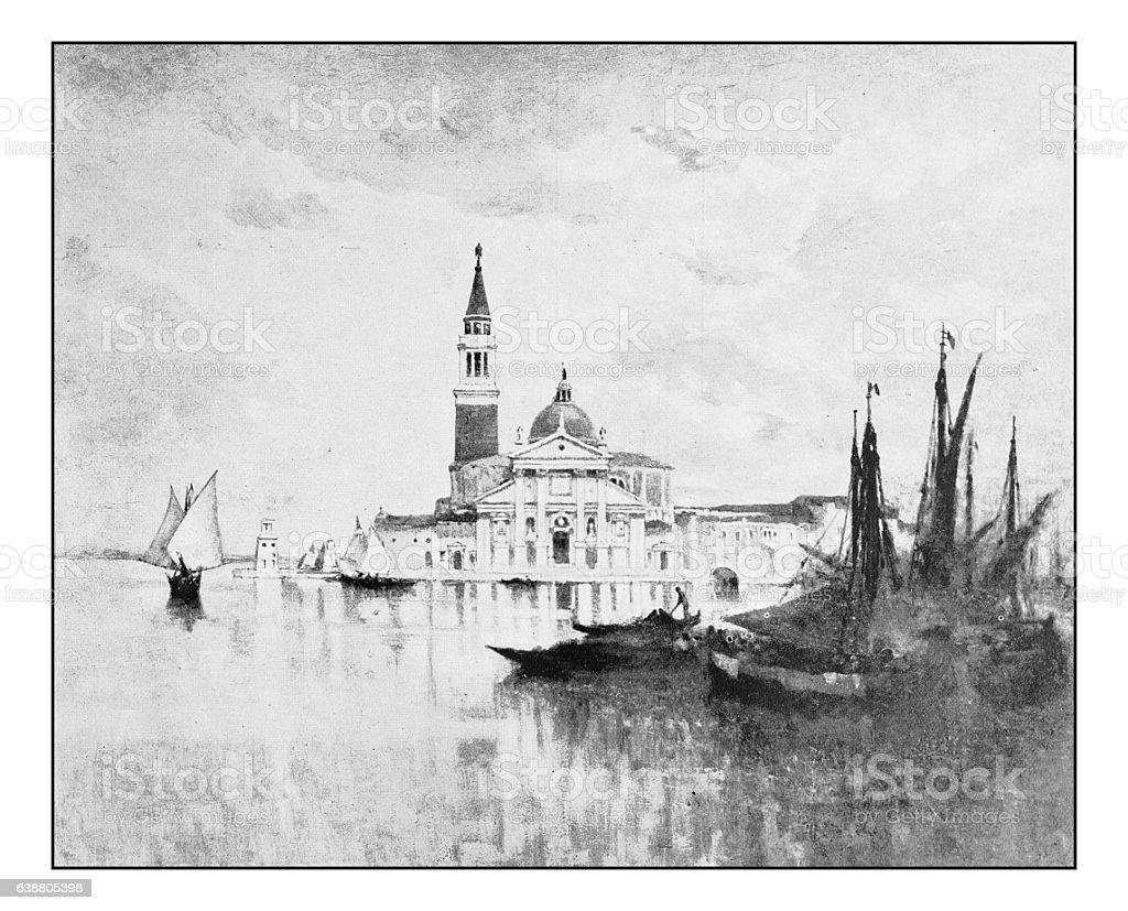 Antique dotprinted photograph of painting: San Giorgio, Venice stock photo