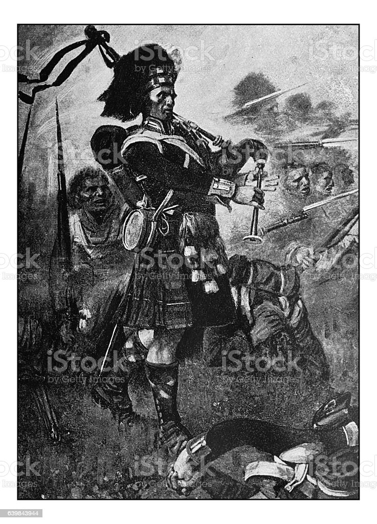 Antique dotprinted photograph of painting: Scottish bagpiper stock photo