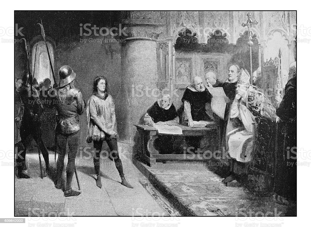 Antique dotprinted photograph of painting: Trial of Joan of Arc stock photo