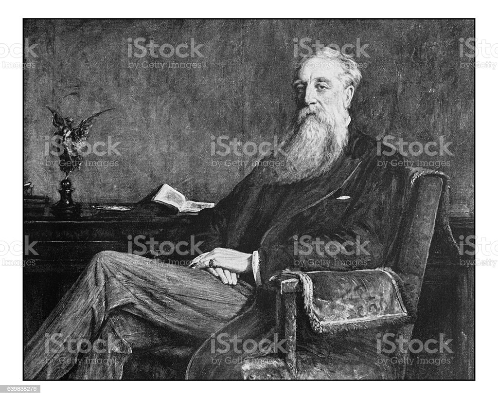 Antique dotprinted photograph of painting: William Bunce Greenfield stock photo