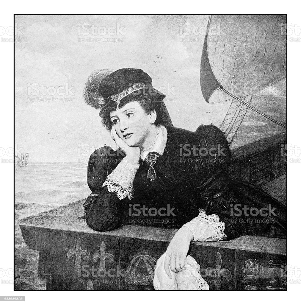 Antique dotprinted photograph of painting: Woman stock photo