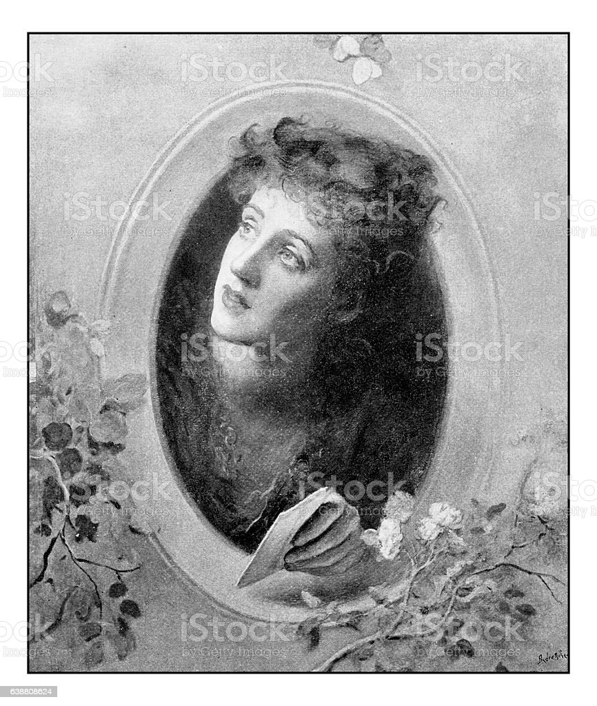 Antique dotprinted photograph of painting: Woman with letter stock photo