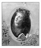 Antique dotprinted photograph of painting: Woman with letter