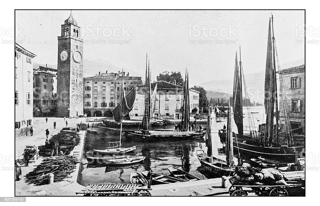 Antique dotprinted photographs of Italy: Alpine lakes, Riva del Garda stock photo