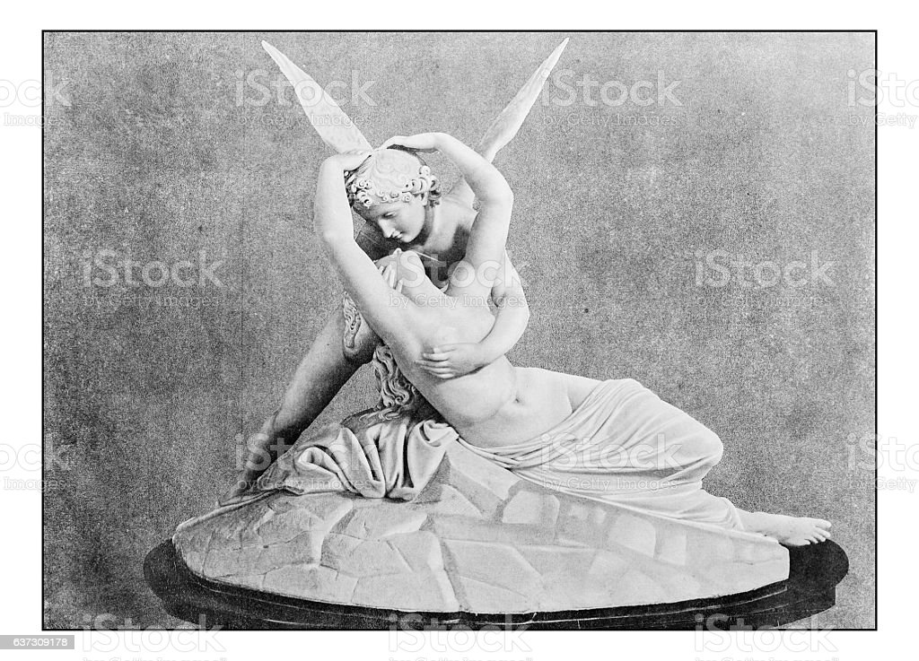 Antique dotprinted photographs of Italy: Amore e Psiche (Canova) stock photo
