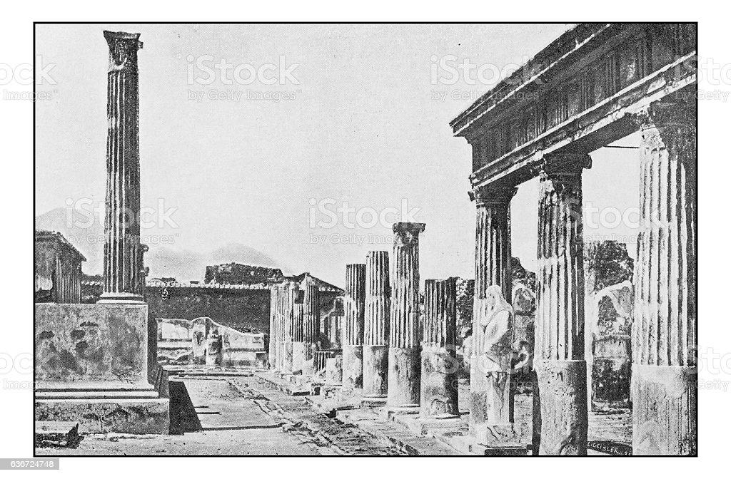 Antique dotprinted photographs of Italy: Campania, Pompei ruins stock photo