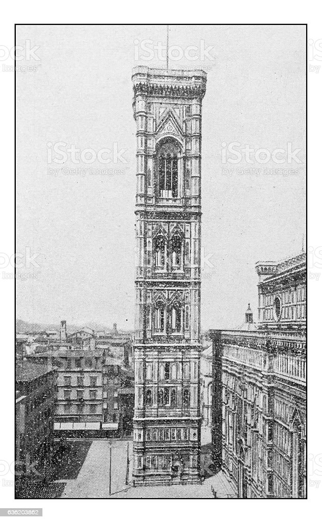 Antique dotprinted photographs of Italy: Florence, Giotto's Campanile stock photo