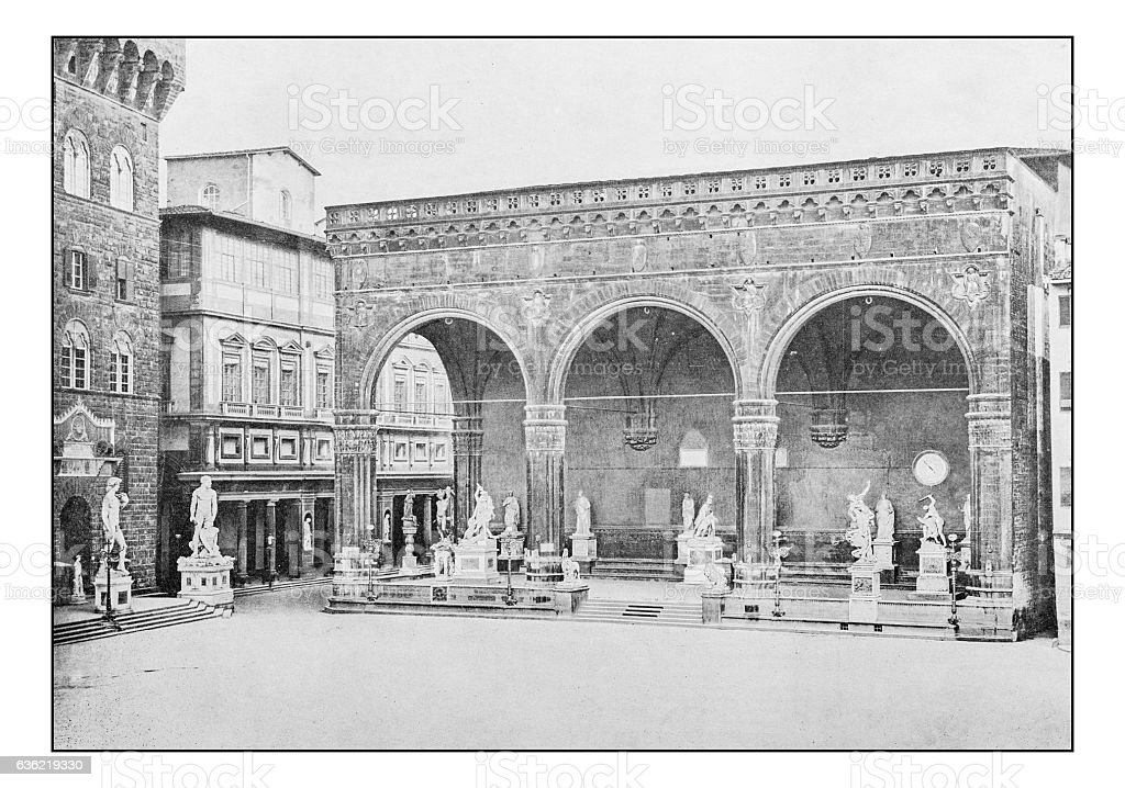 Antique dotprinted photographs of Italy: Florence, Loggia della Signoria stock photo