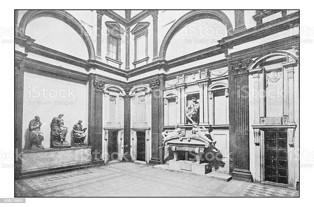 Antique dotprinted photographs of Italy: Florence, Medici Chapel stock photo