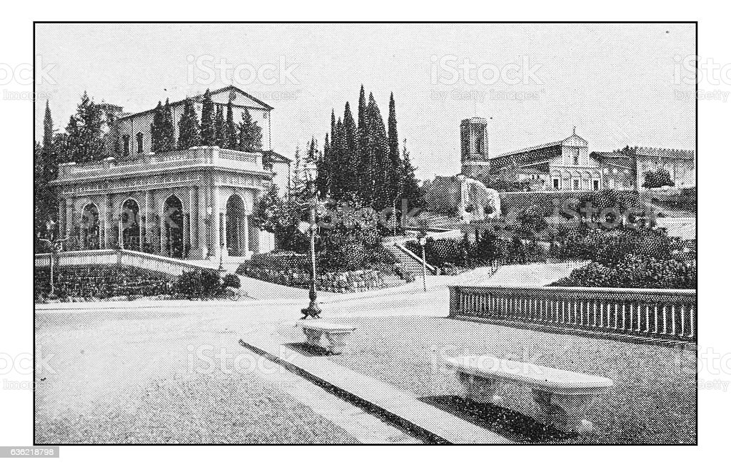 Antique dotprinted photographs of Italy: Florence, Piazzale Michelangelo stock photo
