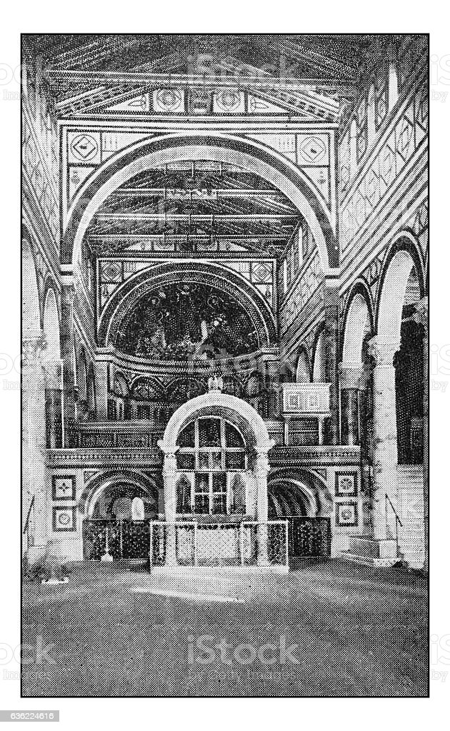 Antique dotprinted photographs of Italy: Florence, San Miniato church stock photo