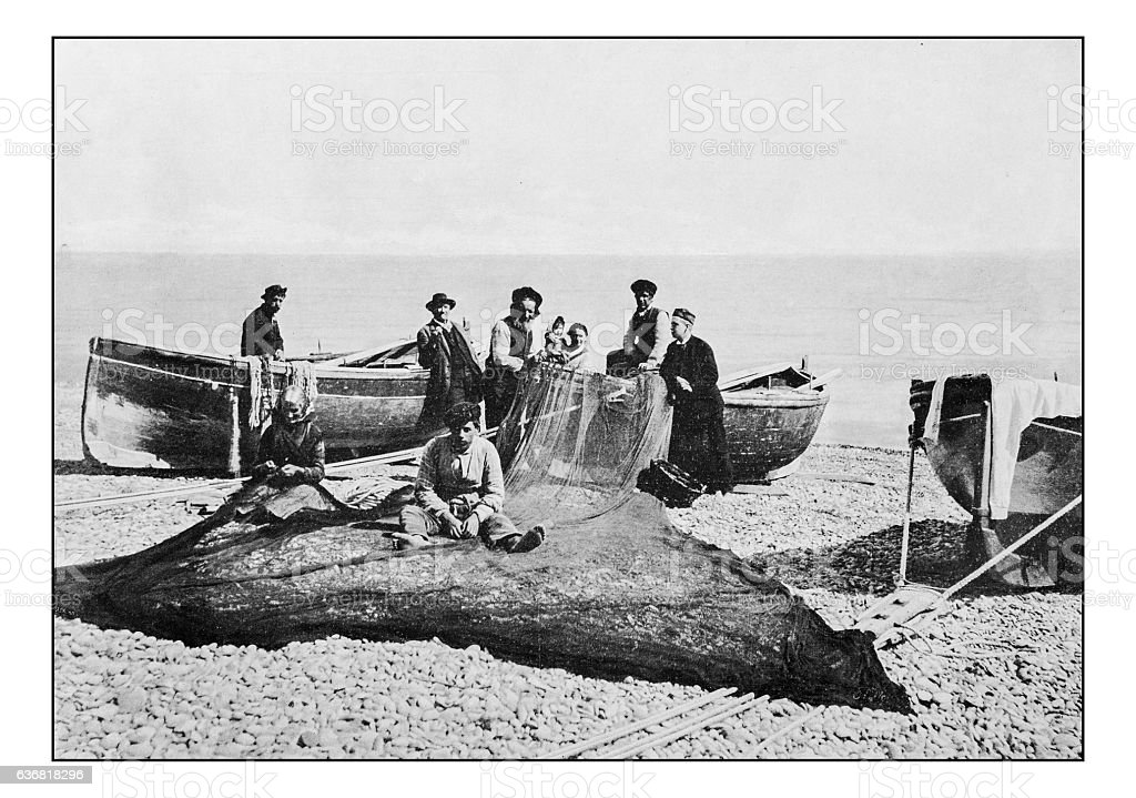 Antique dotprinted photographs of Italy: Liguria, Bordighera, Fishermen royalty-free stock photo