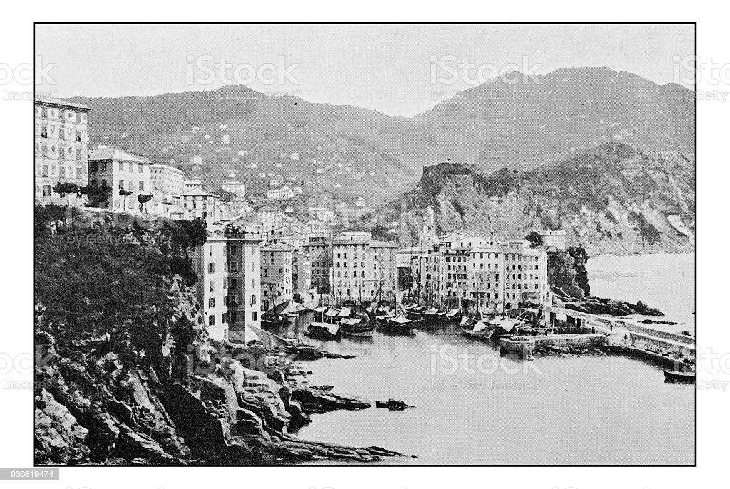 Antique dotprinted photographs of Italy: Liguria, Camogli stock photo