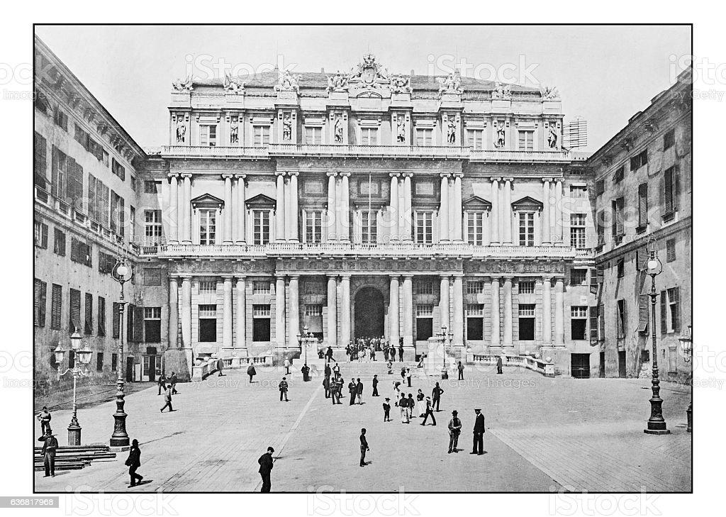 Antique dotprinted photographs of Italy: Liguria, Genoa, Palazzo Ducale stock photo