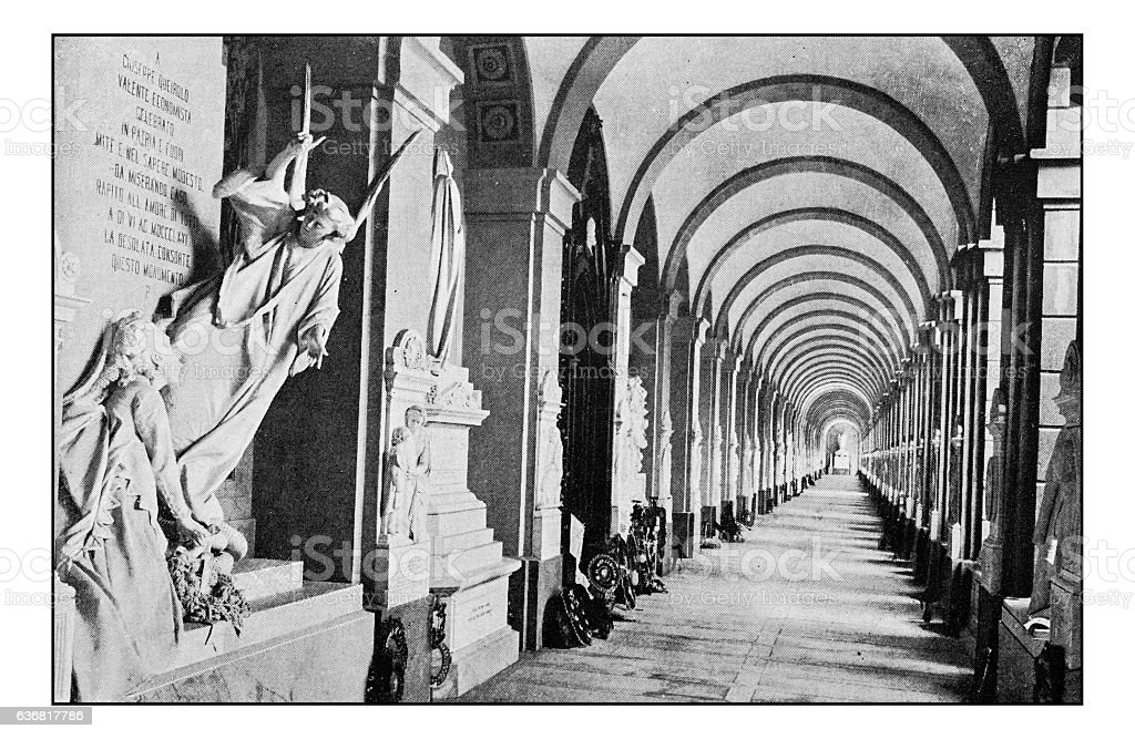 Antique dotprinted photographs of Italy: Liguria, Genoa's Cemetery stock photo