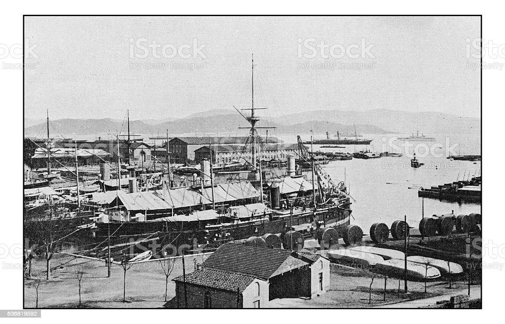 Antique dotprinted photographs of Italy: Liguria, La Spezia stock photo