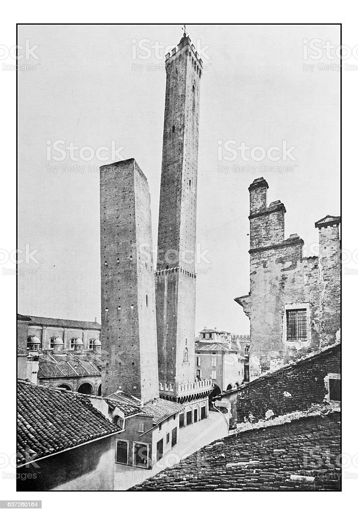 Antique dotprinted photographs of Italy: Lombardy and Emilia, Bologna towers stock photo