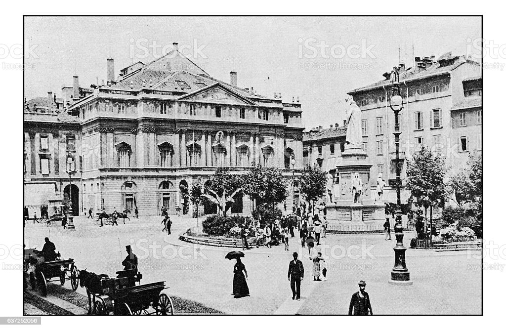Antique dotprinted photographs of Italy: Milan, Teatro della Scala stock photo