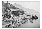 Antique dotprinted photographs of Italy: Naples and surroundings, Amalfi