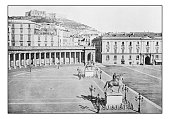Antique dotprinted photographs of Italy: Naples, Largo Palazzo