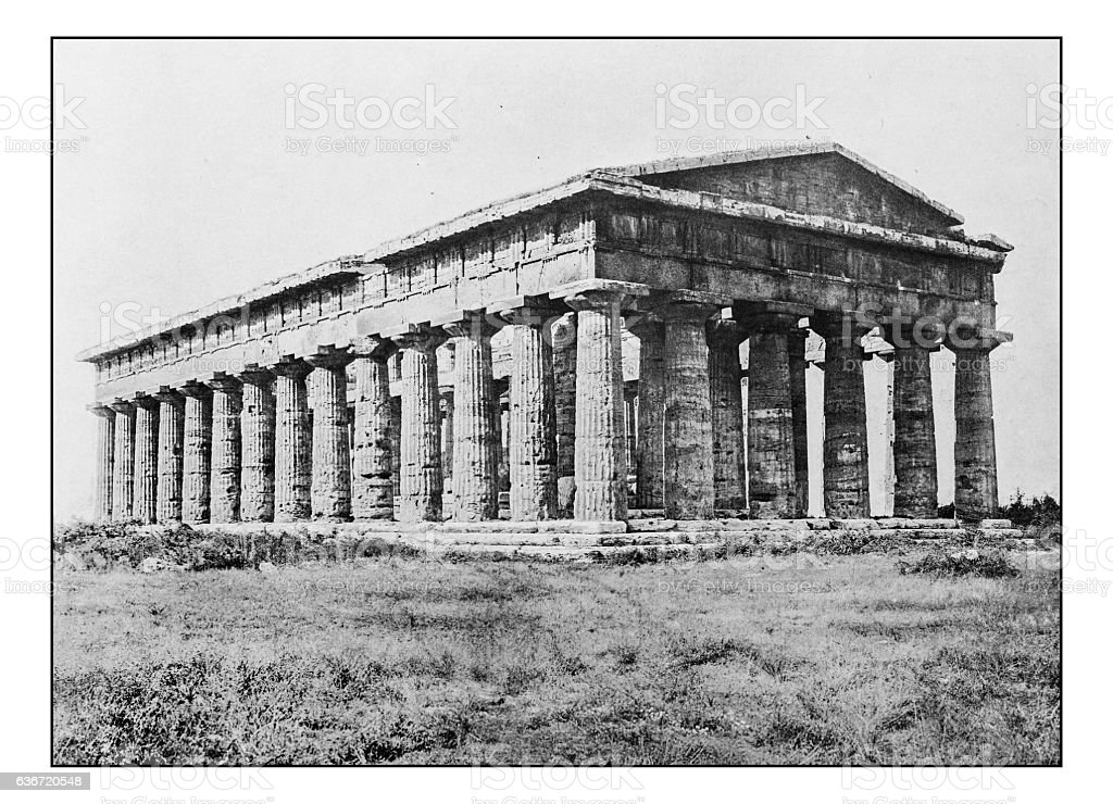 Antique dotprinted photographs of Italy: Naples, Paestum stock photo