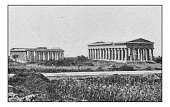 Antique dotprinted photographs of Italy: Naples, Paestum
