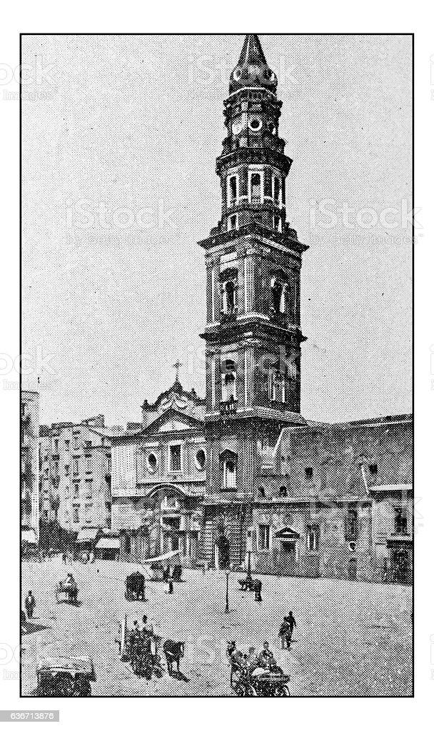 Antique dotprinted photographs of Italy: Naples, Santa Maria del Carmine stock photo