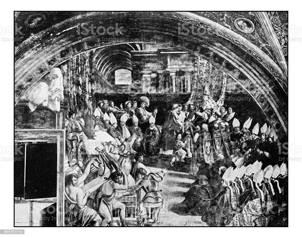 Antique dotprinted photographs of Italy: Paintings, Coronation of Charlemagne, Raphael stock photo