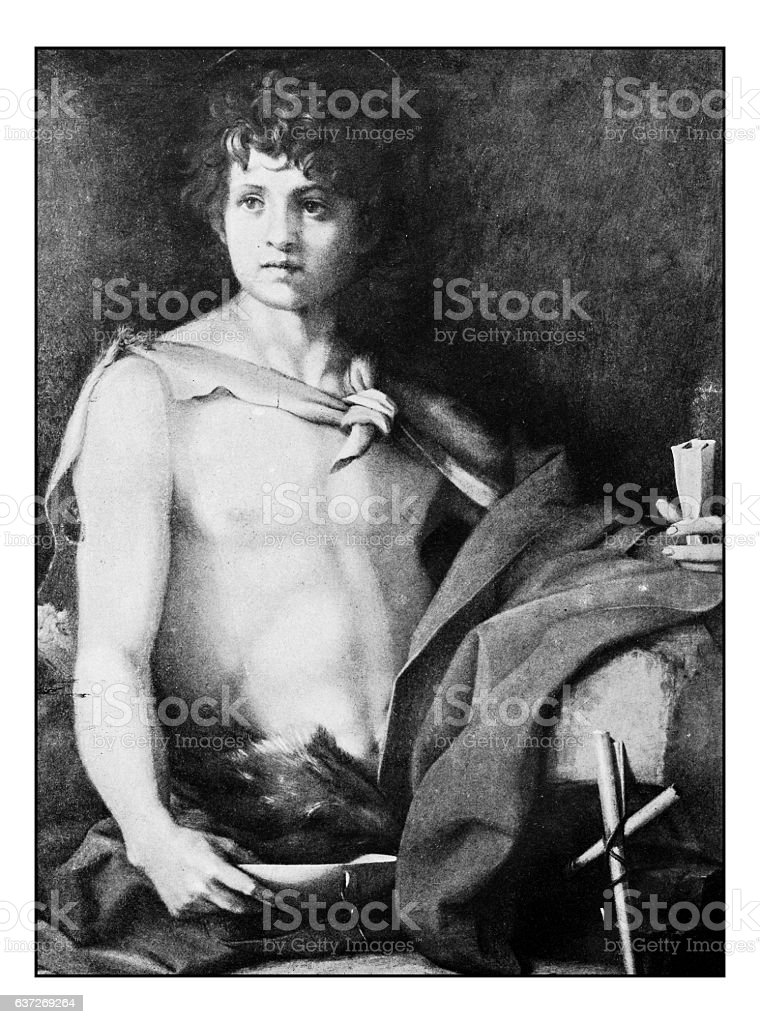 Antique dotprinted photographs of Italy: Paintings, St John the baptist stock photo