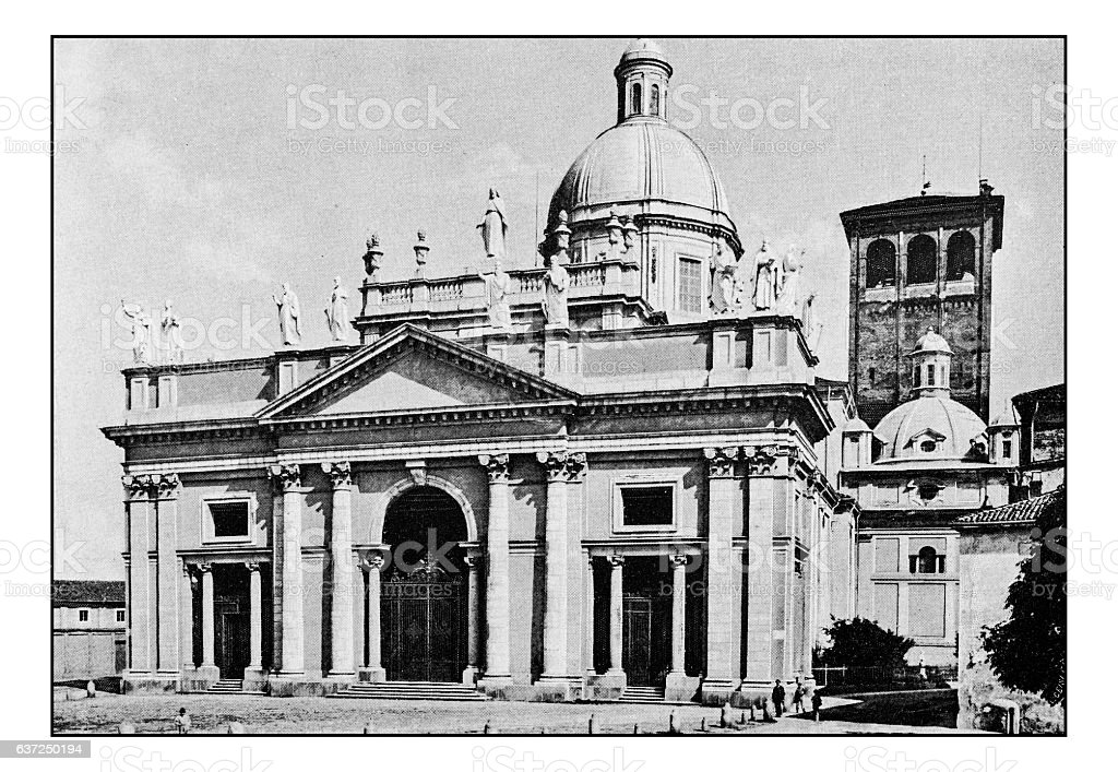 Antique dotprinted photographs of Italy: Piedmont and Alps, Vercelli stock photo